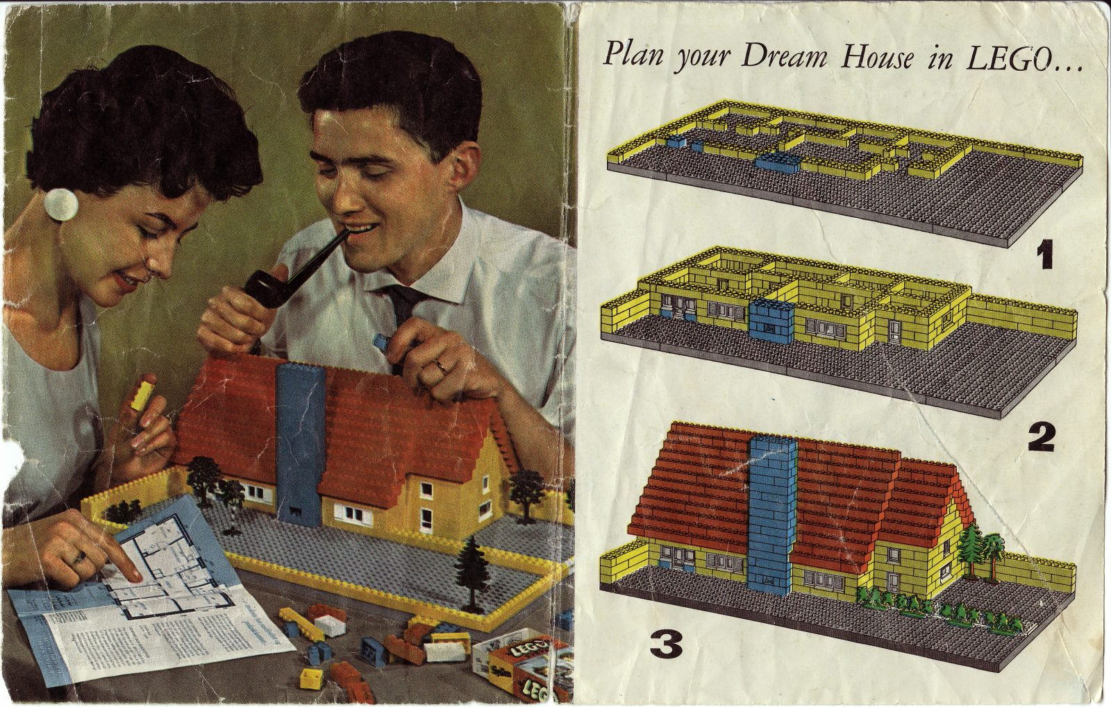 A page from a 1958 booklet filled with suggestions on how to use LEGO