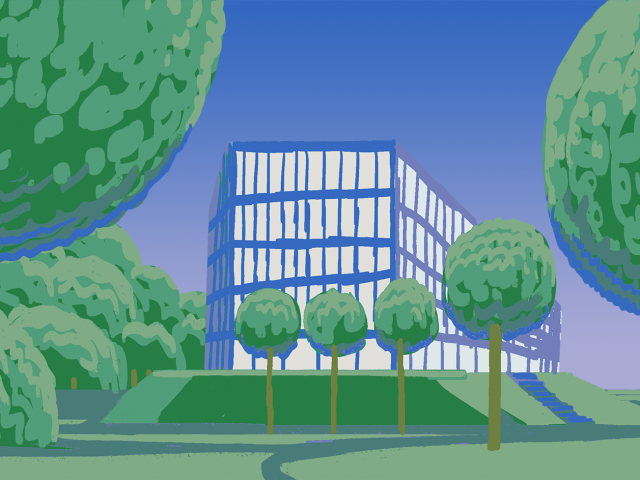 green and blue illustration of Kilen building