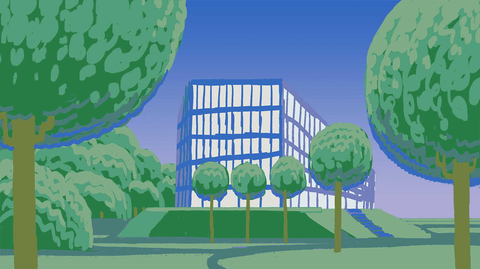 green and blue illustration of Kilen building