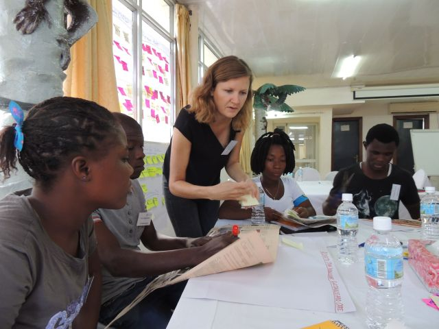 Danish woman and Africa children
