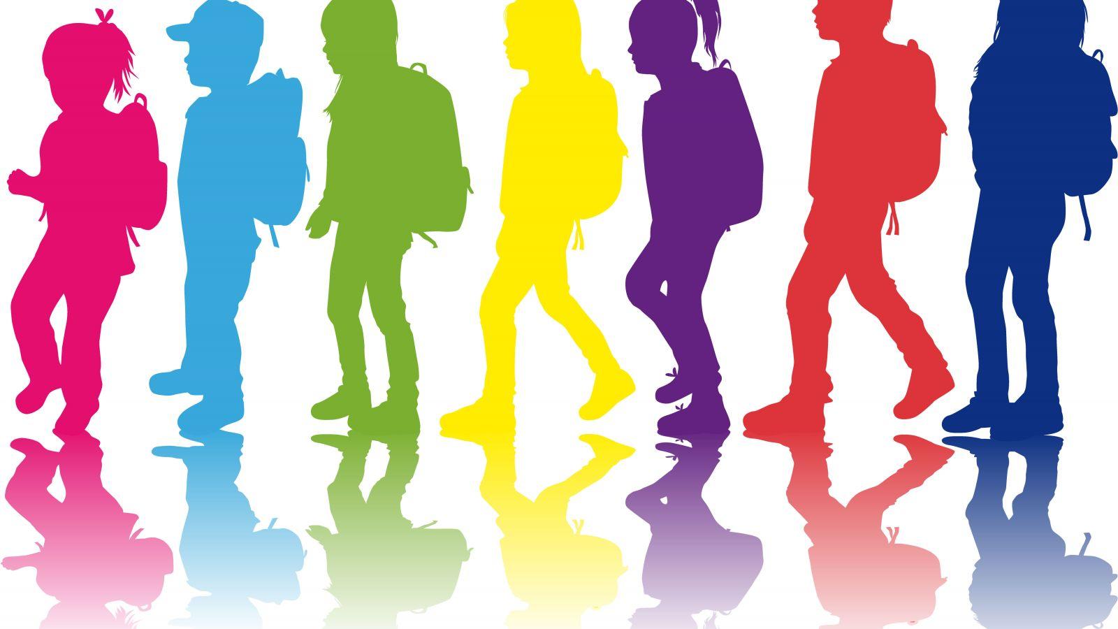 Silhoette of school children