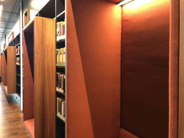 orange reading booths