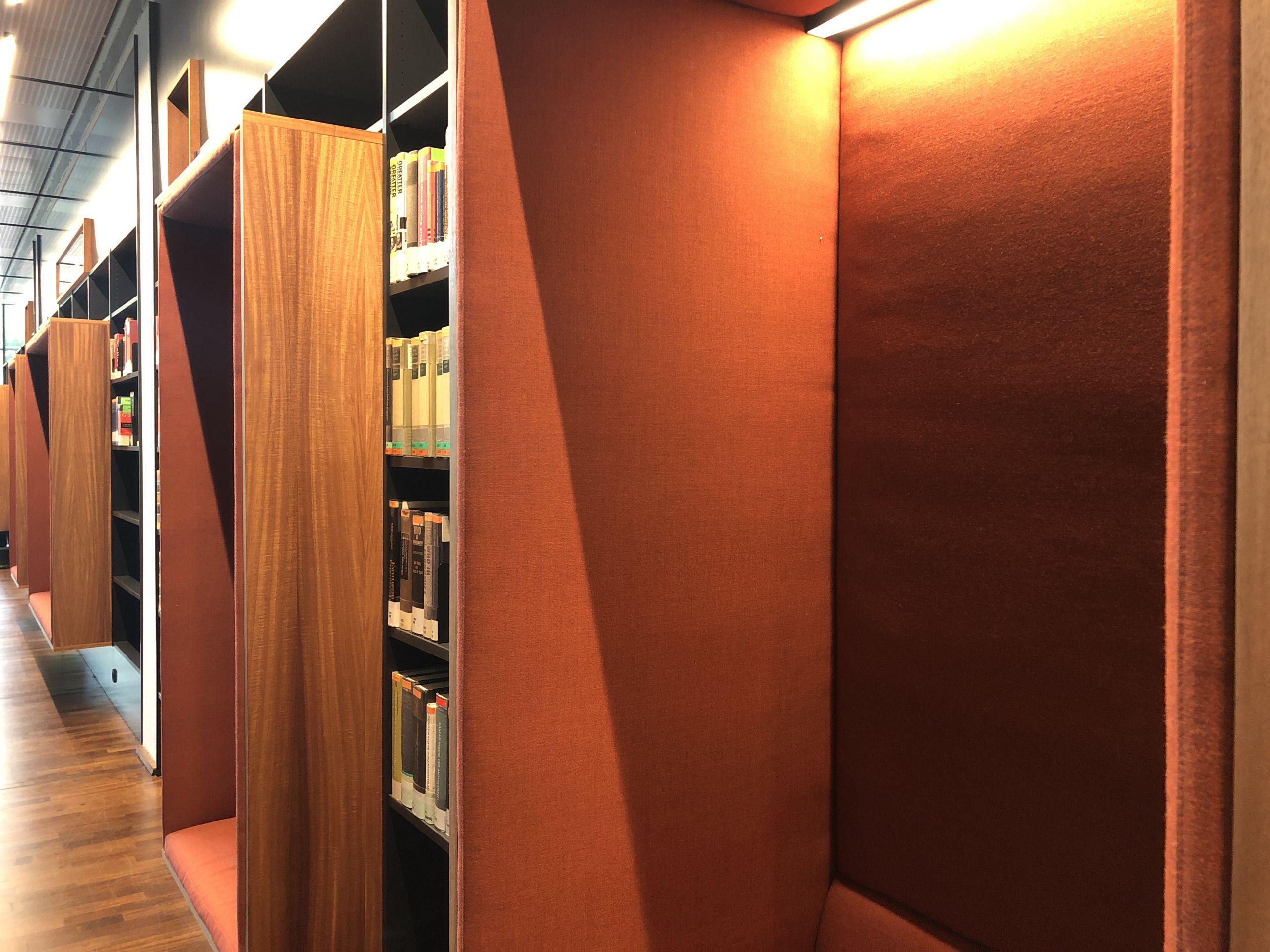 orange reading booths