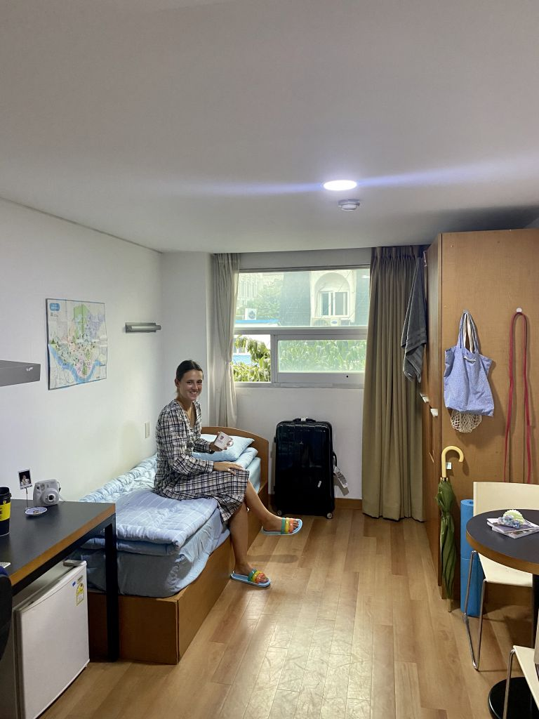 woman in a dorm