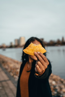 young woman with a snack