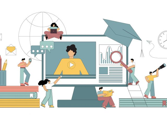 Illustration of online teaching