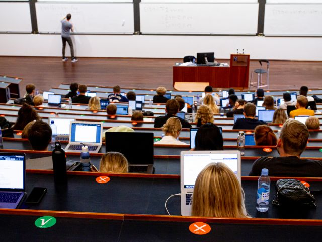 Students in an auditorium