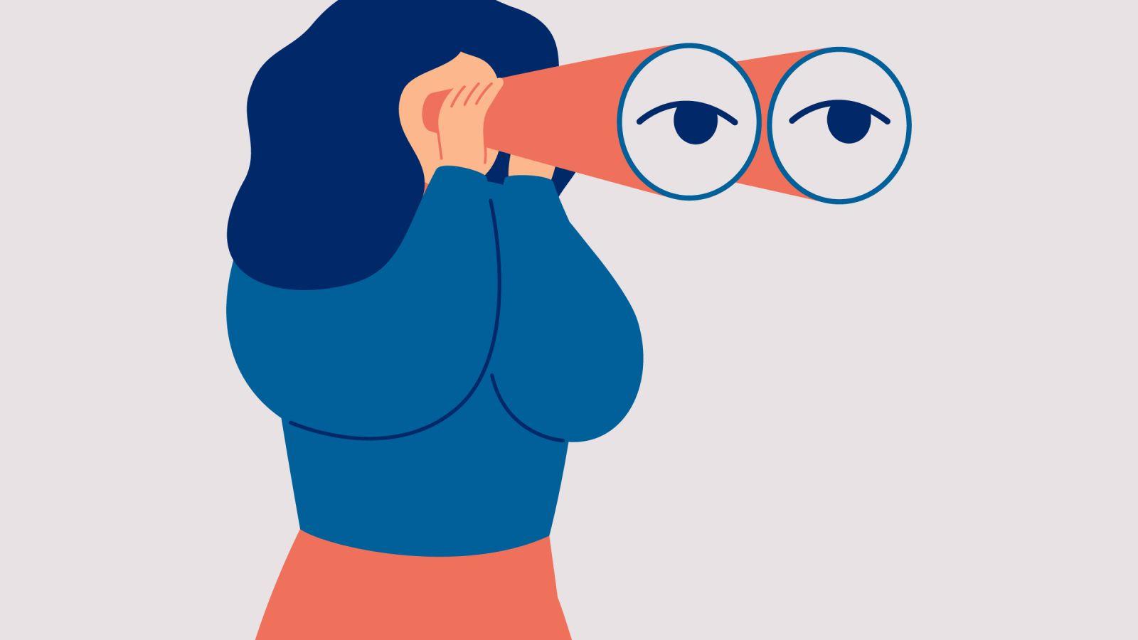 Woman with binoculars illustration