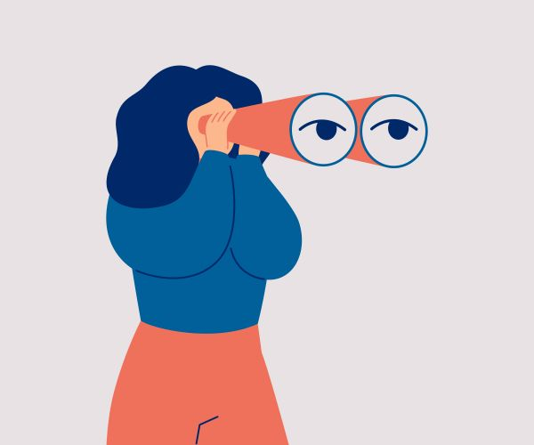 Woman with binoculars illustration