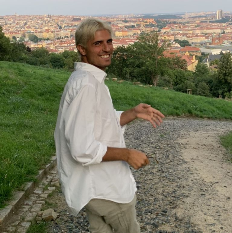 walking man on a hill in Italy