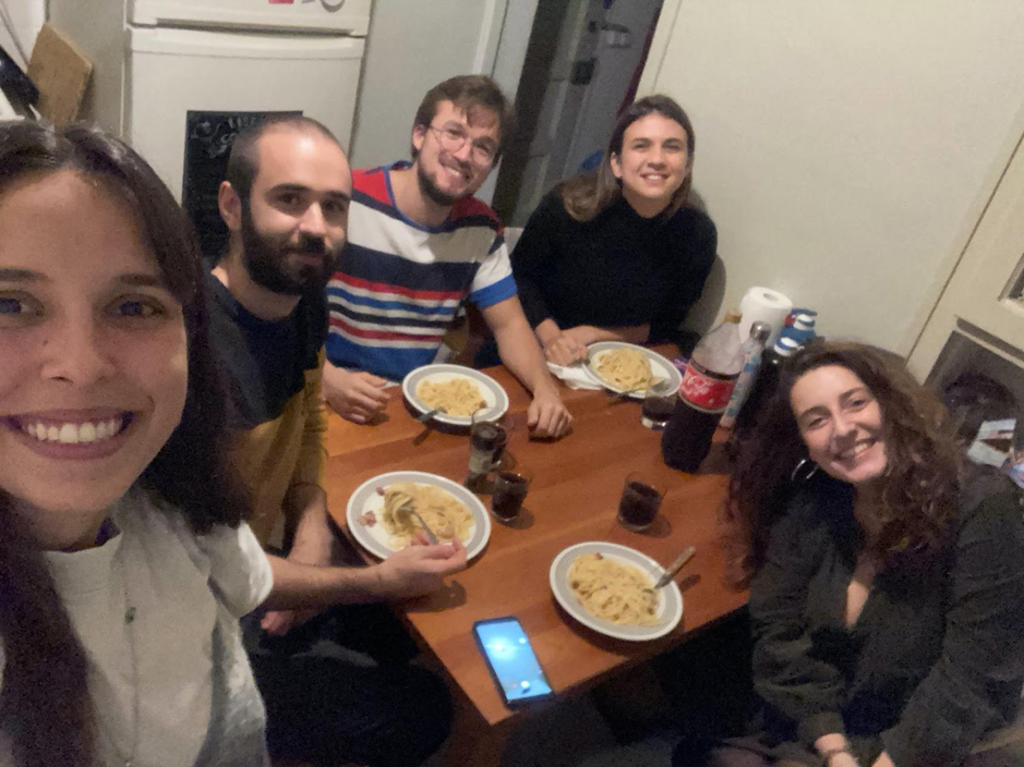 a group of students having a meal