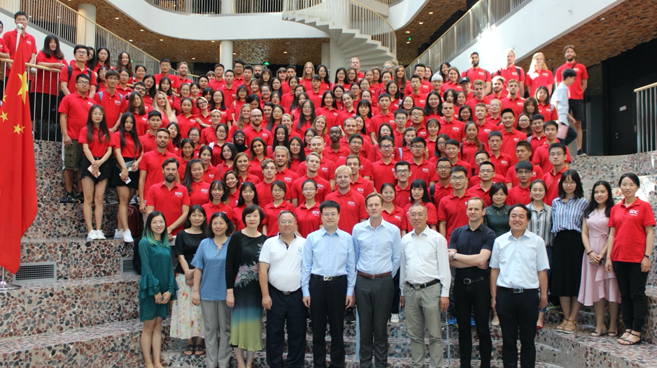 big group of students in China
