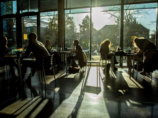Students sitting in shadow