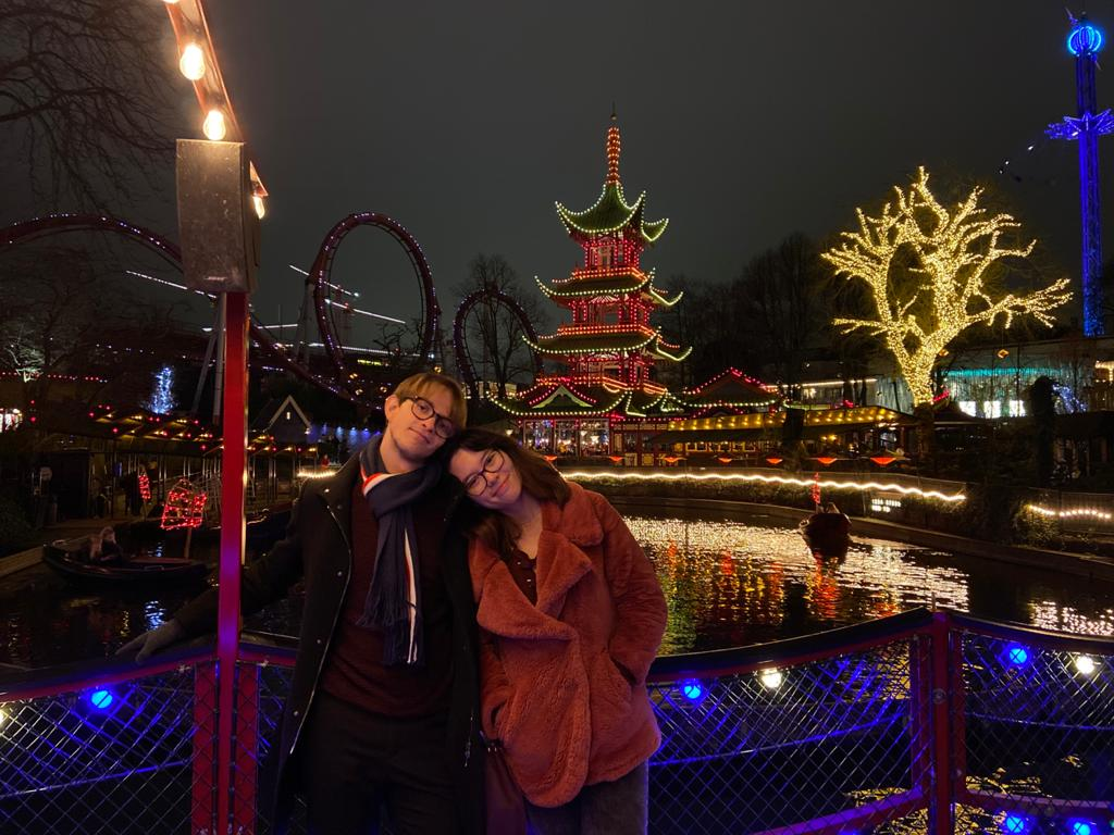 a couple smiling in Tivoli