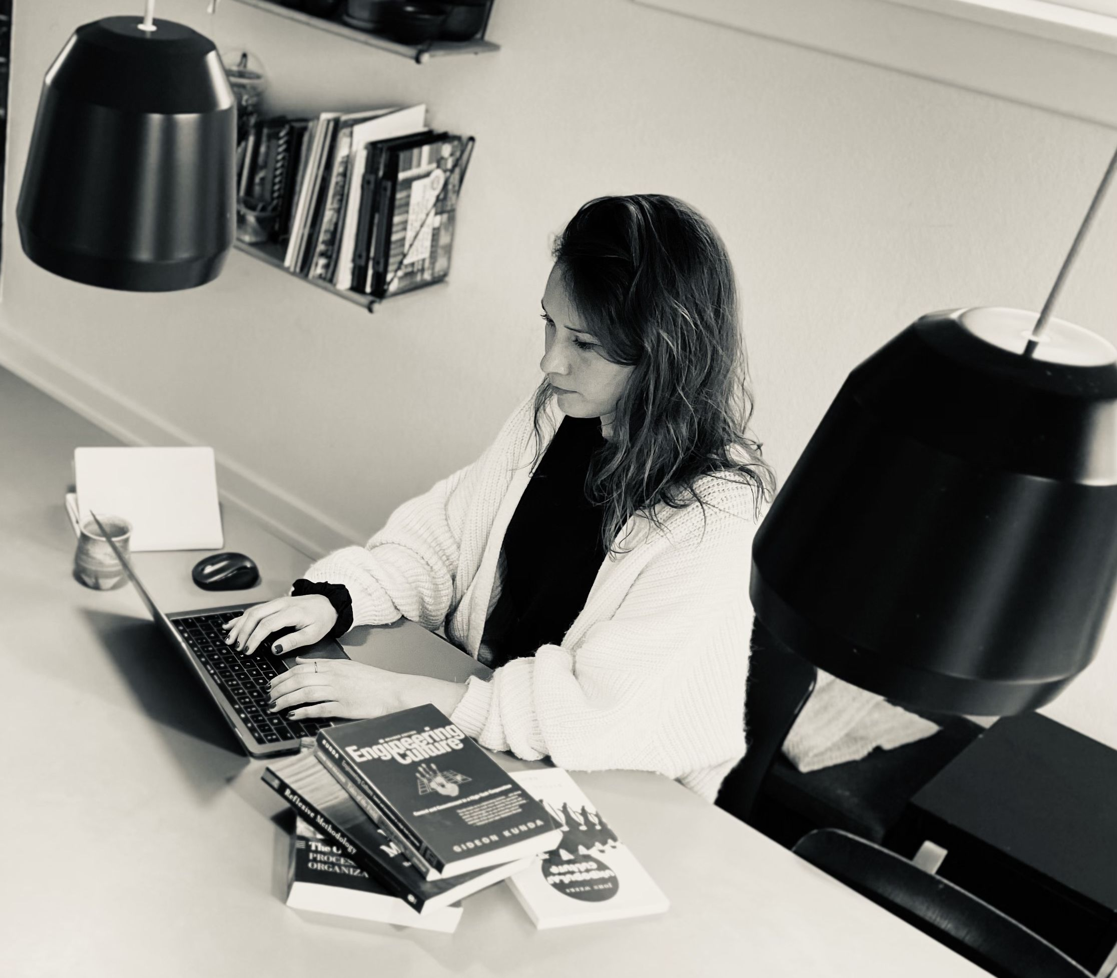woman working by her desk