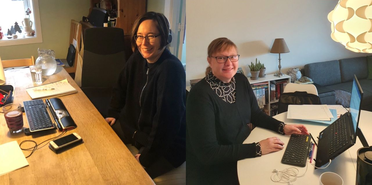 Two women working from home