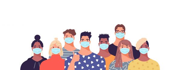 Illustration of young people with face masks