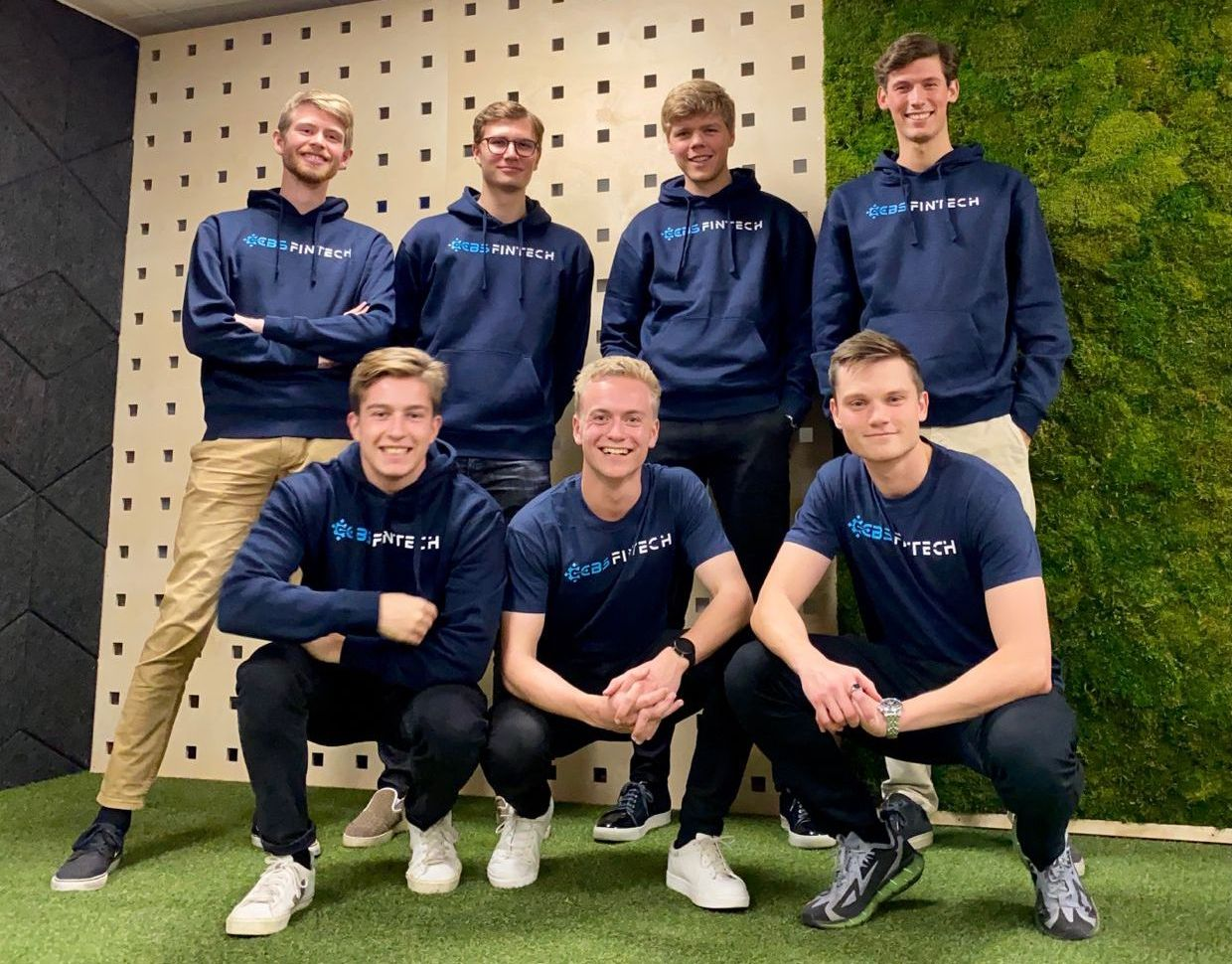Group of guys in blue sweatshirts