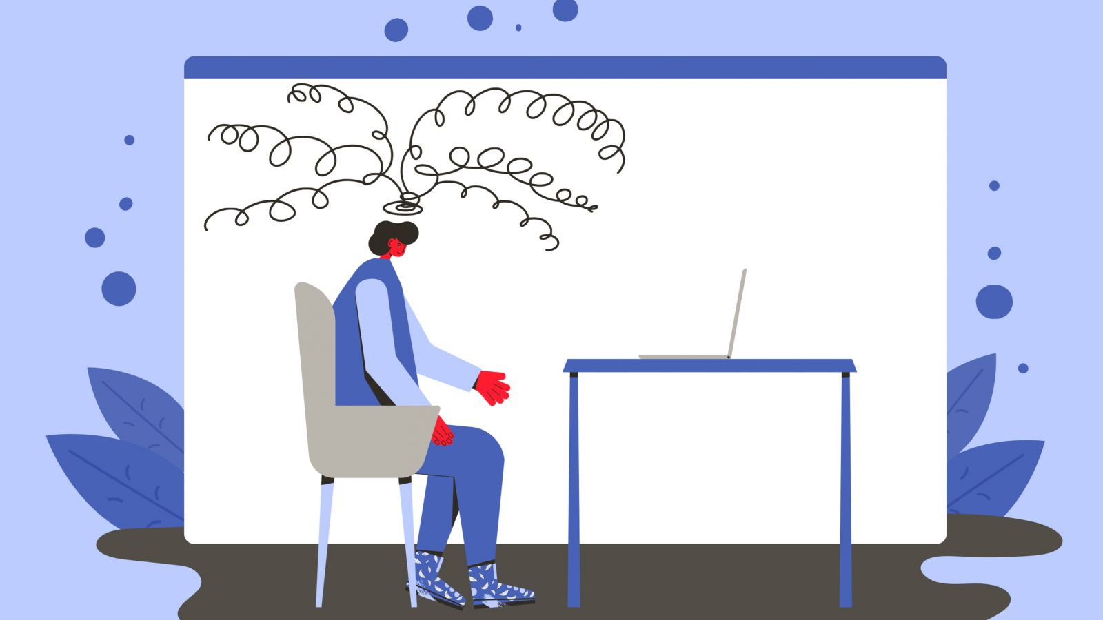 illustration of an employee with a headache