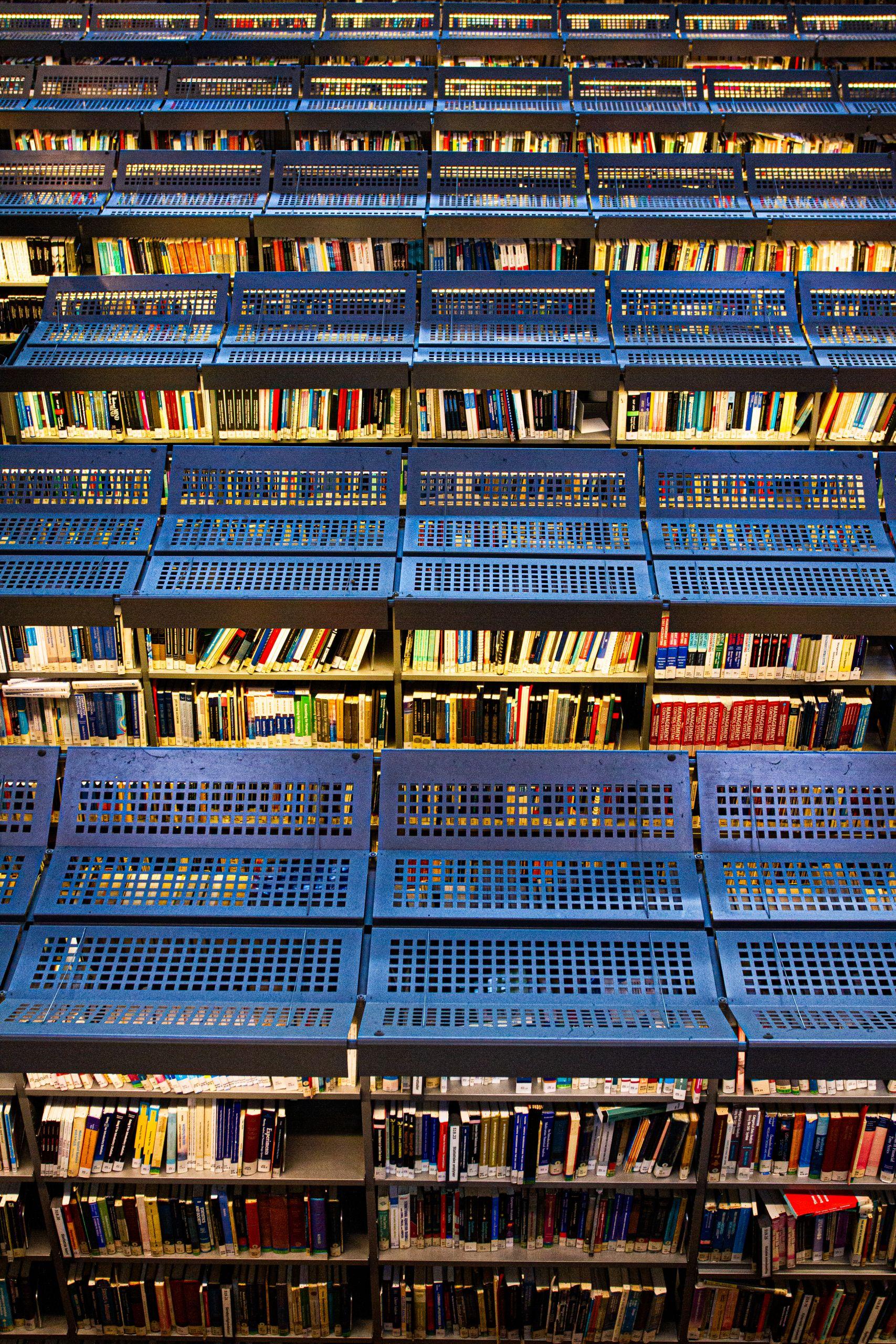 Racks with books