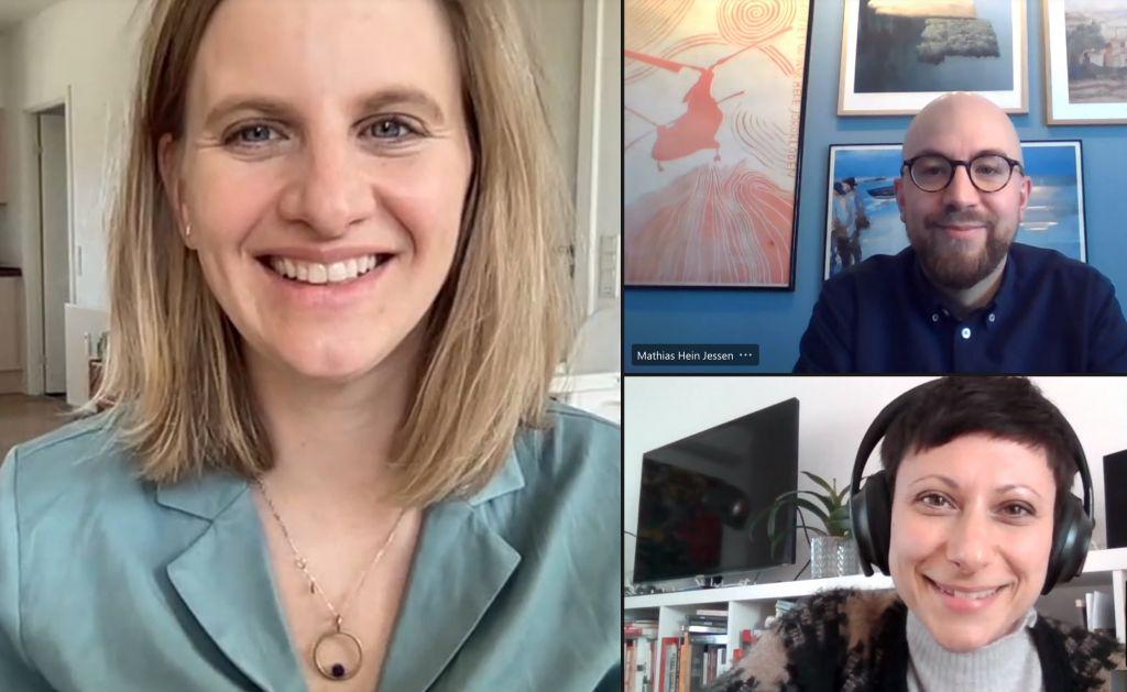 Three teachers in online meeting