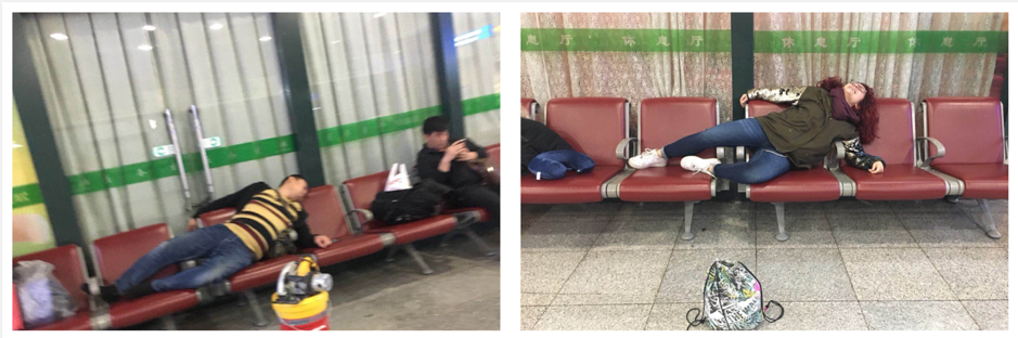 people sleeping in a train station