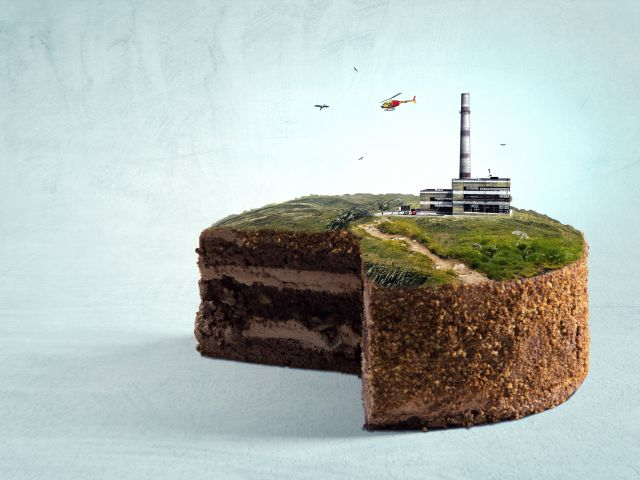 cake with grass