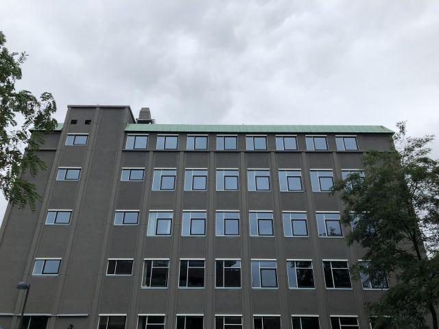 Grey building in grey weather