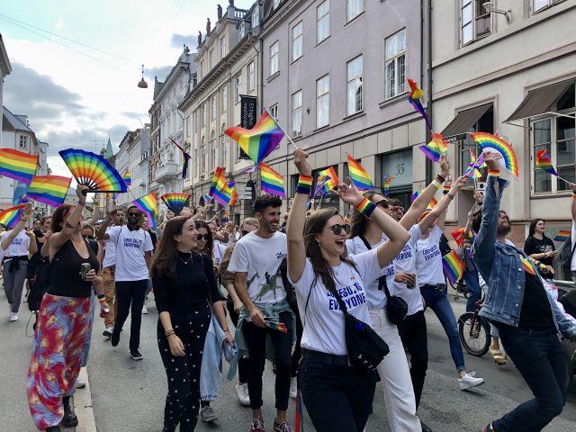 People walking in pride parade