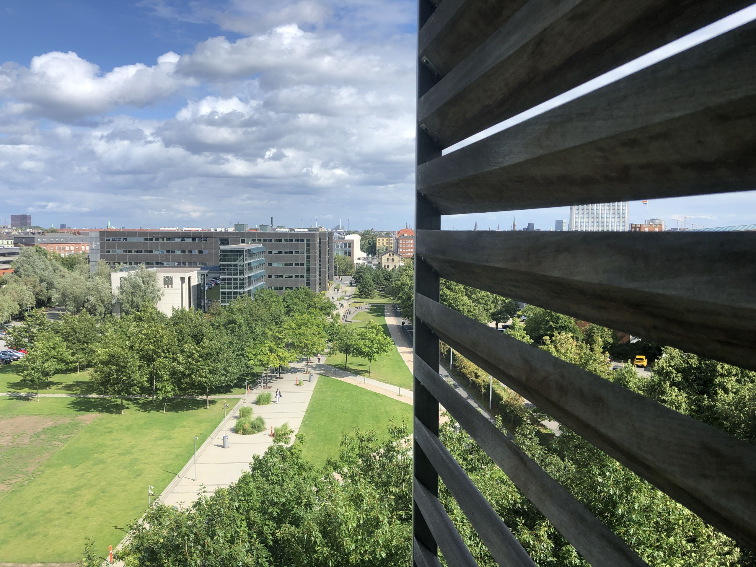 View from top floor over a park