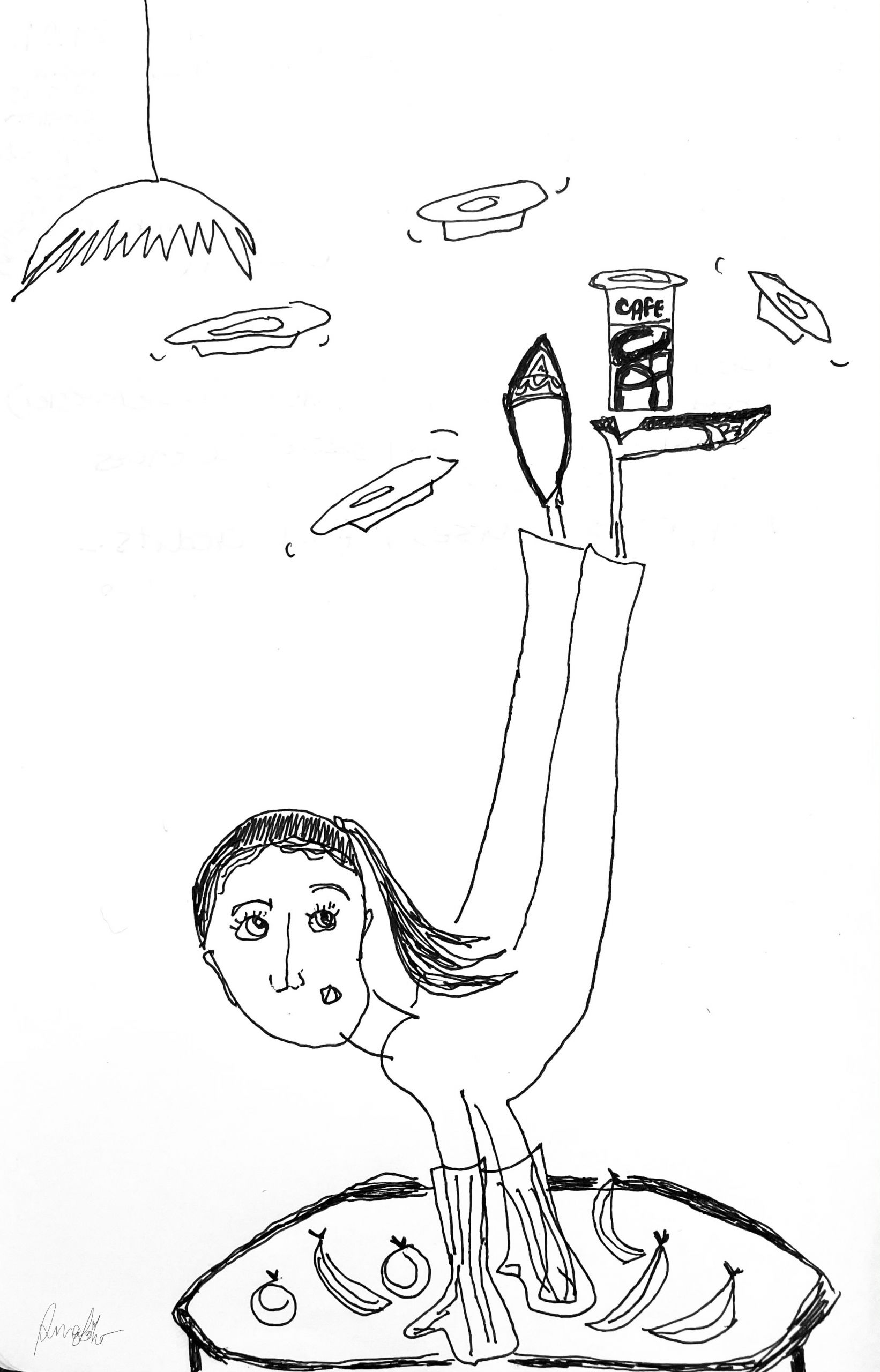 illustration girl with her legs in the air