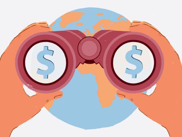 Illustration of binoculars seeing dollars