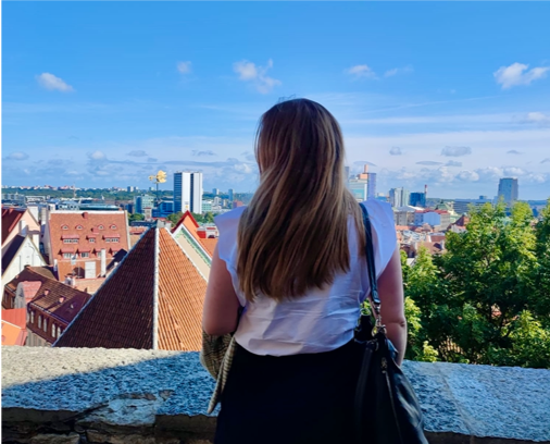 young woman and a view in Tallinn